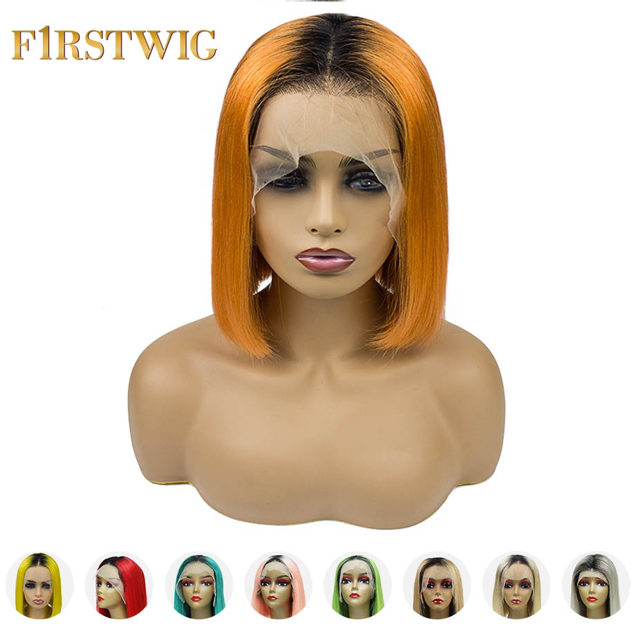FirstWig Ombre human hair wig Multiple Colors 613 Blonde Short Bob lace front human hair wigs