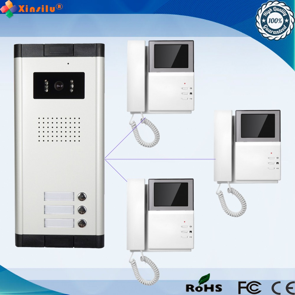 4.3 Inch 1V3 Monitor Wired Intercom Video Door Phone