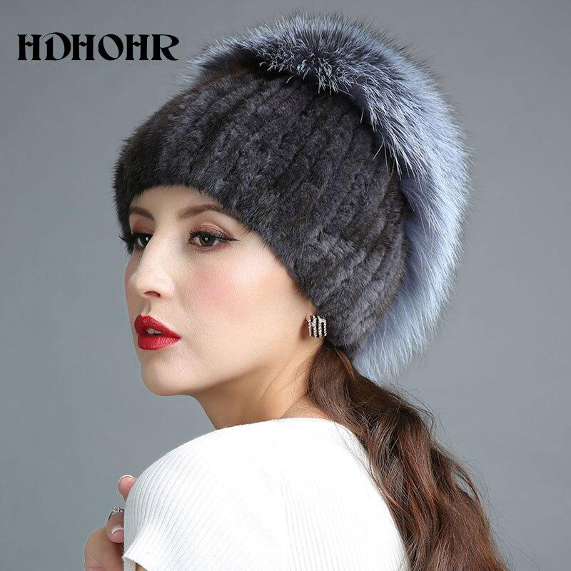 HDHOHR 2018 Νέο καπέλο γούνας για τις χειμερινές γυναίκες Γνήσια καπέλο γούνας Mink με ασημένια γούνα Fox Πλεκτά Beanies Μόδα γυναικεία καπέλα γούνας