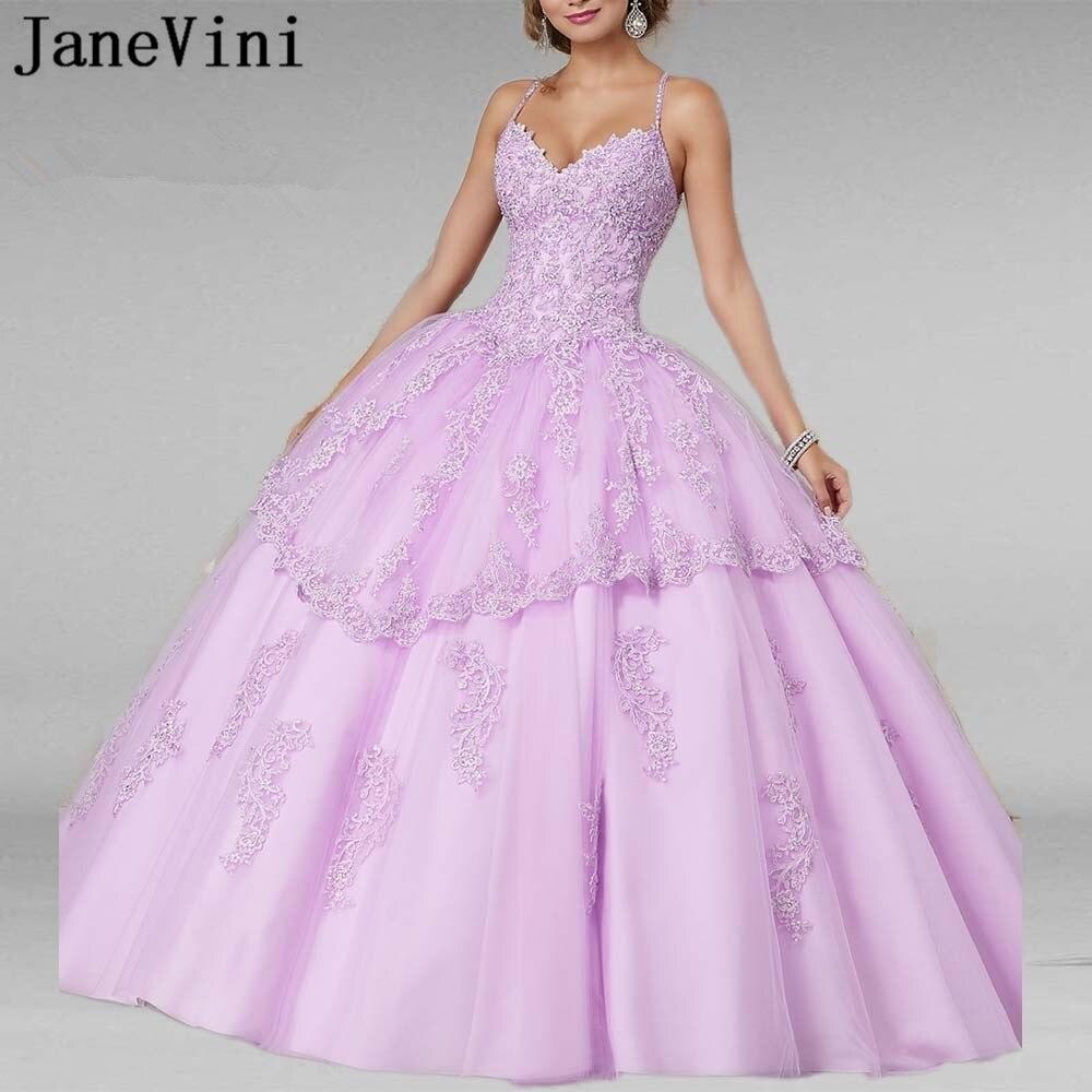 JaneVini robe De bal élégante lilas Quinceanera robes 2019 col en V Appliques perlées princesse bouffante Tulle robes De bal Vestidos De 15