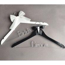 Wedding Groom and Bride Hanger,Wedding Dress Hanger,Wood Hanger.Bow Tie Hanger,Gift for Groom,Gift wedding