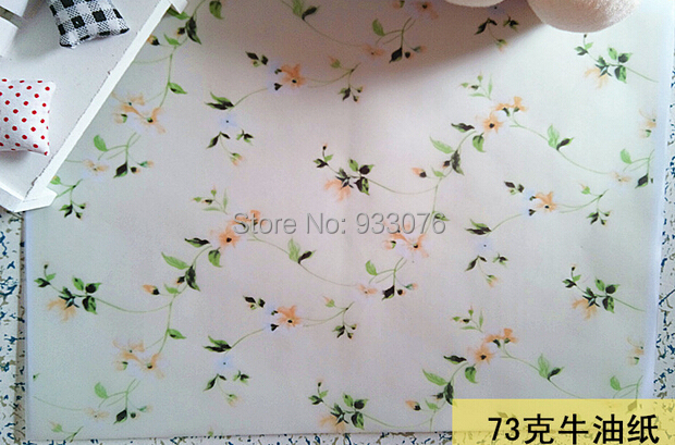 73g Greaseproof paper Elegent Flower Half A4 size Hand Made Soap wrapping wax paper free shipping