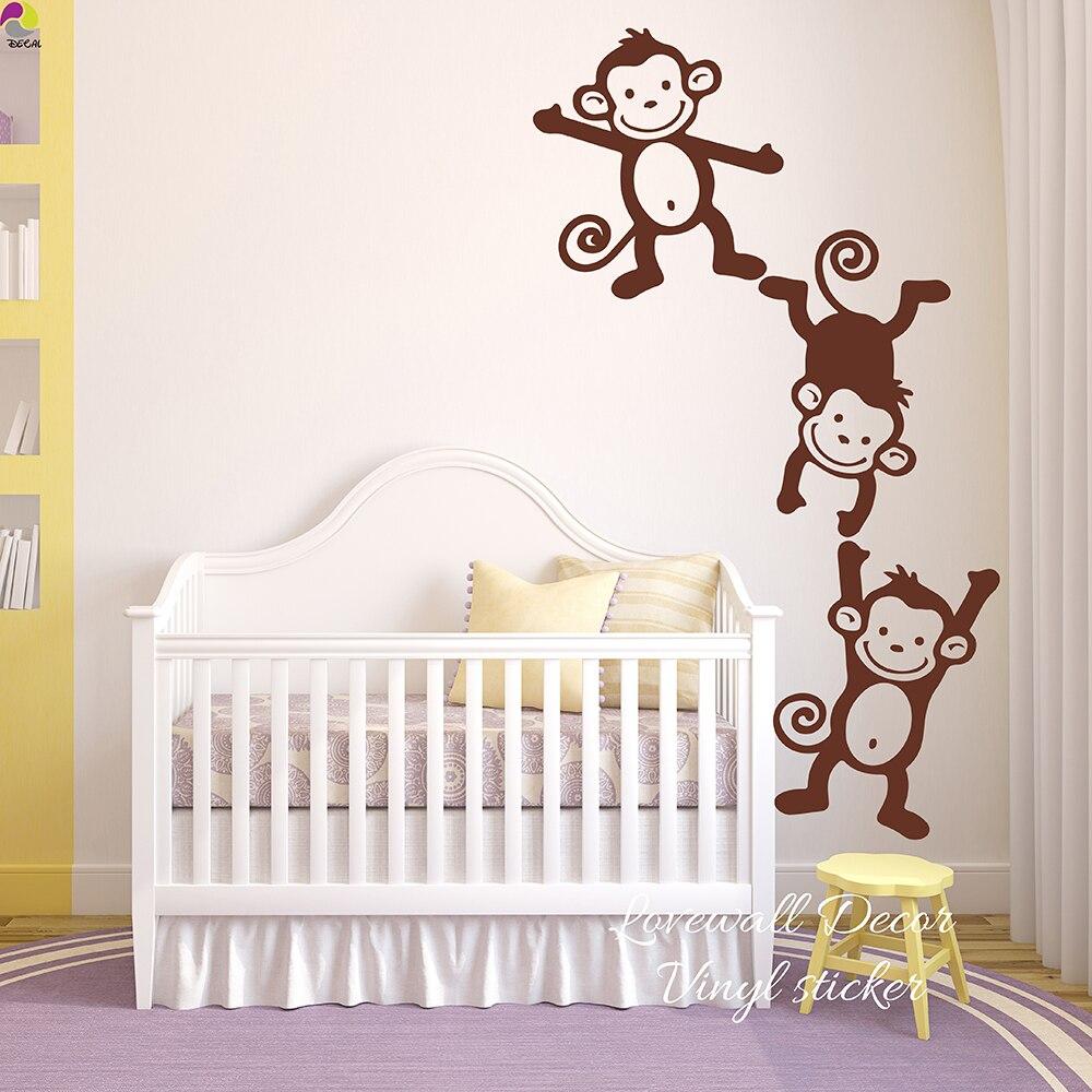 Us 6 28 10 Off Set Of 3 Monkey Wall Sticker Baby Nursery Kids Room Cartoon Cheeky Monkeys Animal Decal Bedroom Living Vinyl Decor In