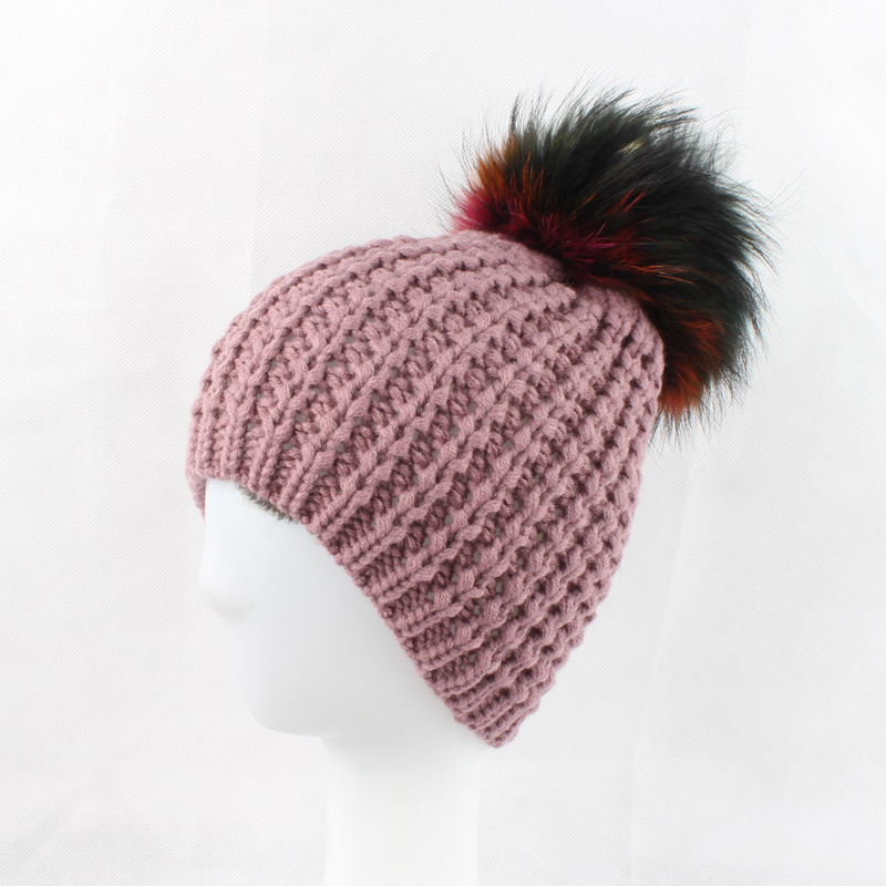 Women Acrylic Skullies Beanies Hats 15CM Multi Raccoon Fur Pom Pom Lady Winter Genuine Fur Caps Headgear VF4021 skullies