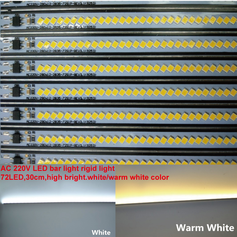 10pcs/lot 220Vac 2835SMD 30CM 7w Warm Cold White Dimmable Bright LED Bar Light Showcase Hard Strip Cabinet LED Rigid Strip Light