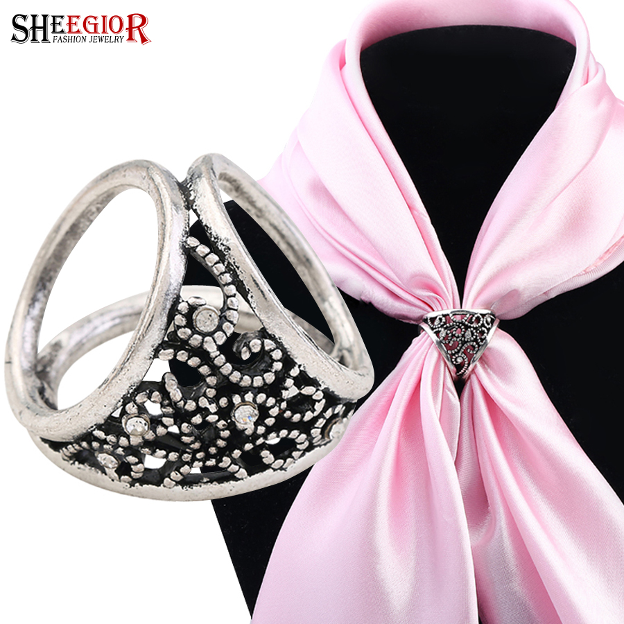 SHEEGIOR Vintage Ethnic Silk Scarf Buckle Brooches for Women Lovely Bronze Silver Hollow Flower Brooch Pins Fashion Jewelry Gift