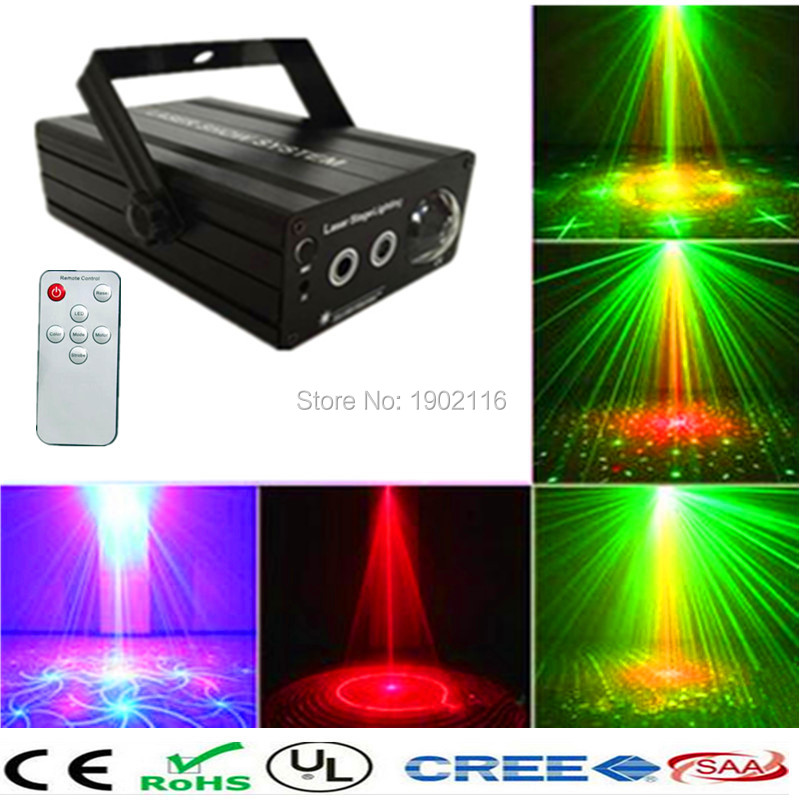 ФОТО 24 RG Patterns Led Stage Lighting Effect Laser Projector With Remote Blue Light DJ Disco Bar Home Party Club Lighting