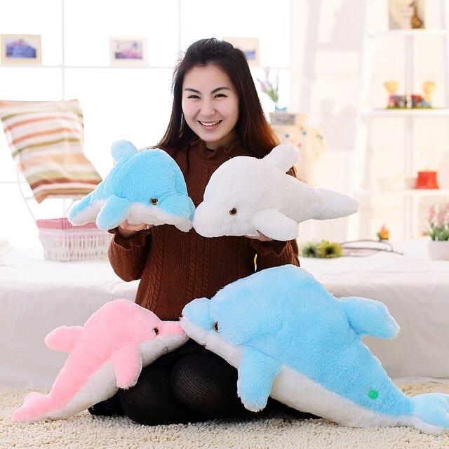 45cm Creative Luminous Plush Dolphin Doll Glowing Pillow, LED Light Plush Animal Toys Colorful Doll Kids Children's Gift WJ453