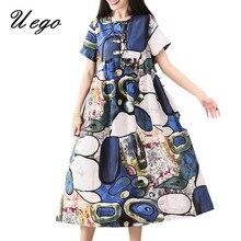 a396971a8cc51b Uego Vintage Jurk Katoen Afdrukken Patroon Chinese Stijl Jurk Plus Size  Losse Vrouwen Casual Dress 2019