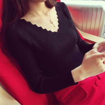 Fashion Autumn Women V-neck Long-sleeve Knitted Sweater Female Jumper Pullover Solid Basic Elasticity Women Clothing Pull Femme 2