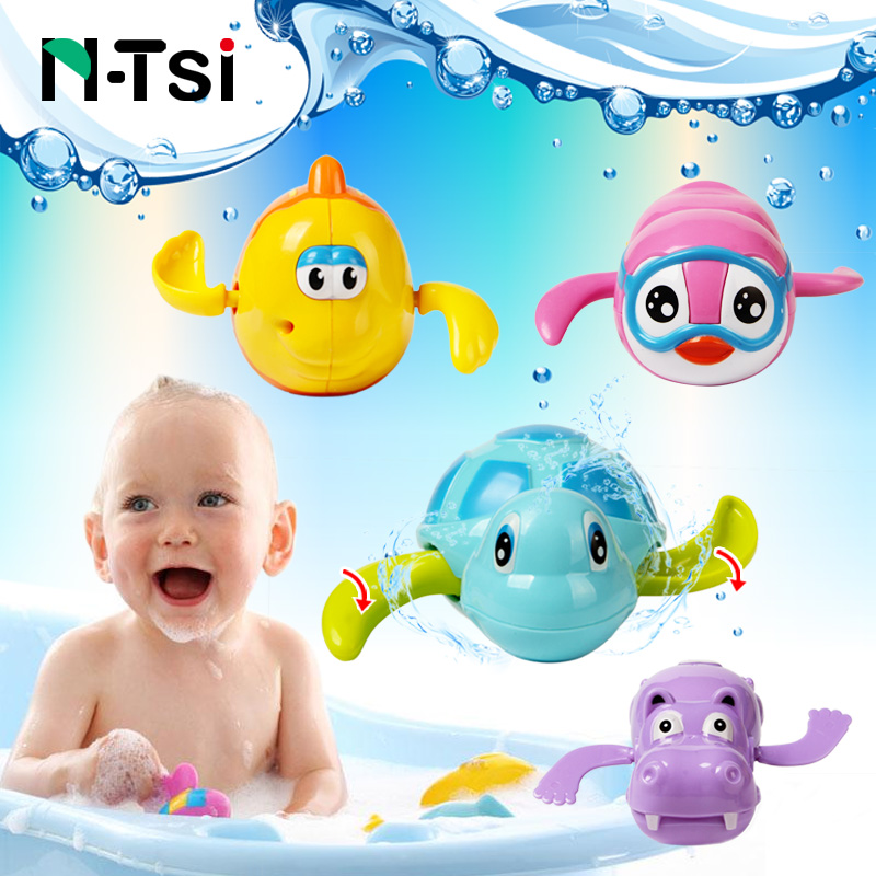N-Tsi Wind Up Clockwork Dabbling Swimming Turtle Fish Animal Bath Toys for Children Baby 1 Year Happy Summer Pool Time Kids Gift