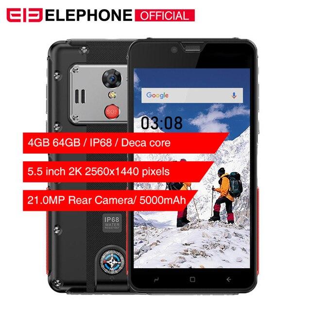 "Cargadores de coche Elephone soldado 5,5 ""Pantalla 2 K IP68 impermeable del teléfono móvil Android 8,0 MTK X25 Deca Core 4 GB 64 GB GB 5000 mAh Smartphone robusto"