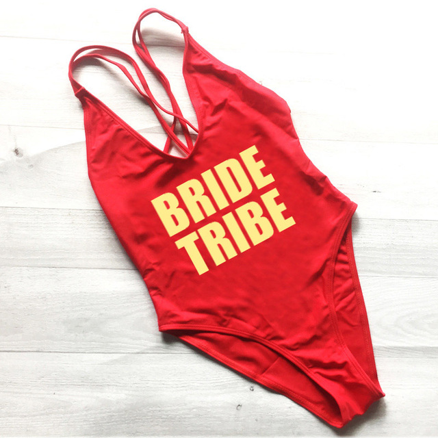 a53117e82efe6 Sexy BRIDE TRIBE Swimwear Women One Piece Swimsuit High Cut Gold White  Letter Print Bathing Suit Bodysuit Beachwear Plus Size