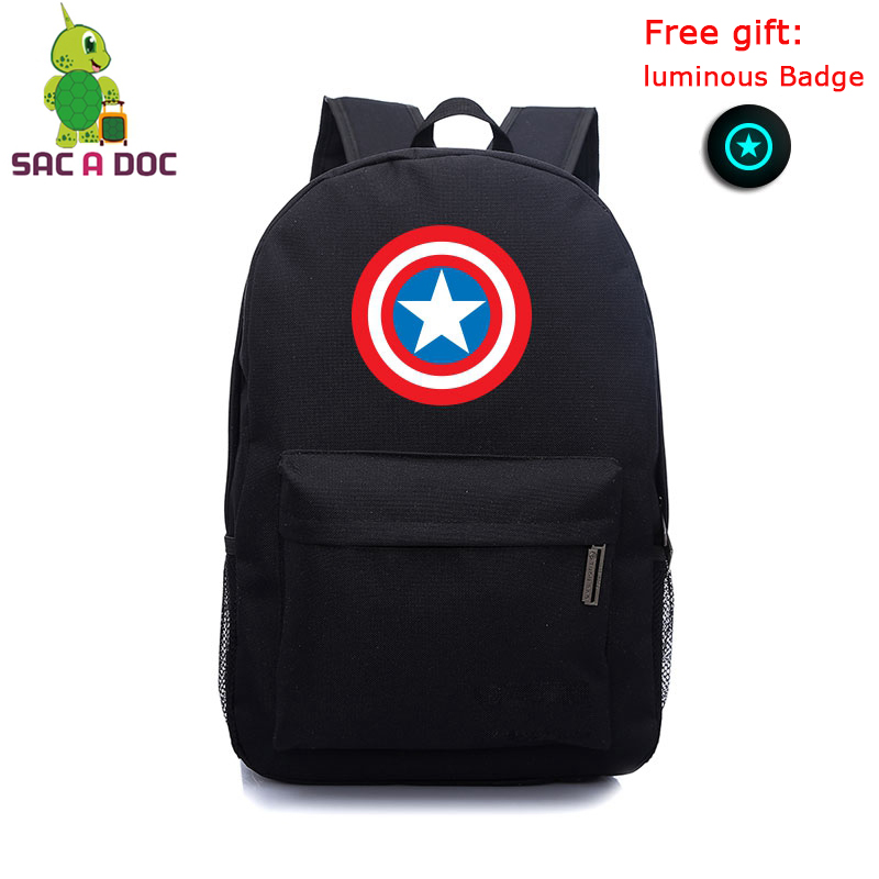 20b7ac410cb9 Avengers Captain America Backpack for Teenage Boys Girls School Bags Comics  Hero Daily Backpack Large Capacity