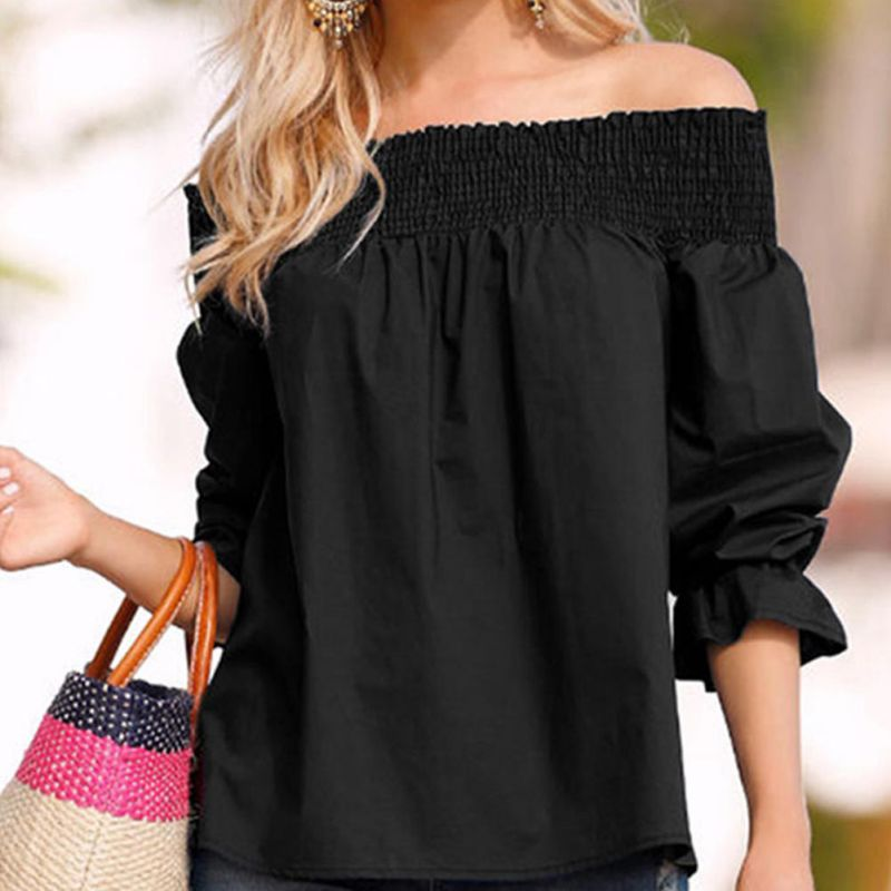 HTB16ZYZKbSYBuNjSspfq6AZCpXas - Sexy Off Shoulder Bowknot Blouse Spring Summer Strapless Women Tops Slash Neck Shirts Casual Loose Blusas Plus Size