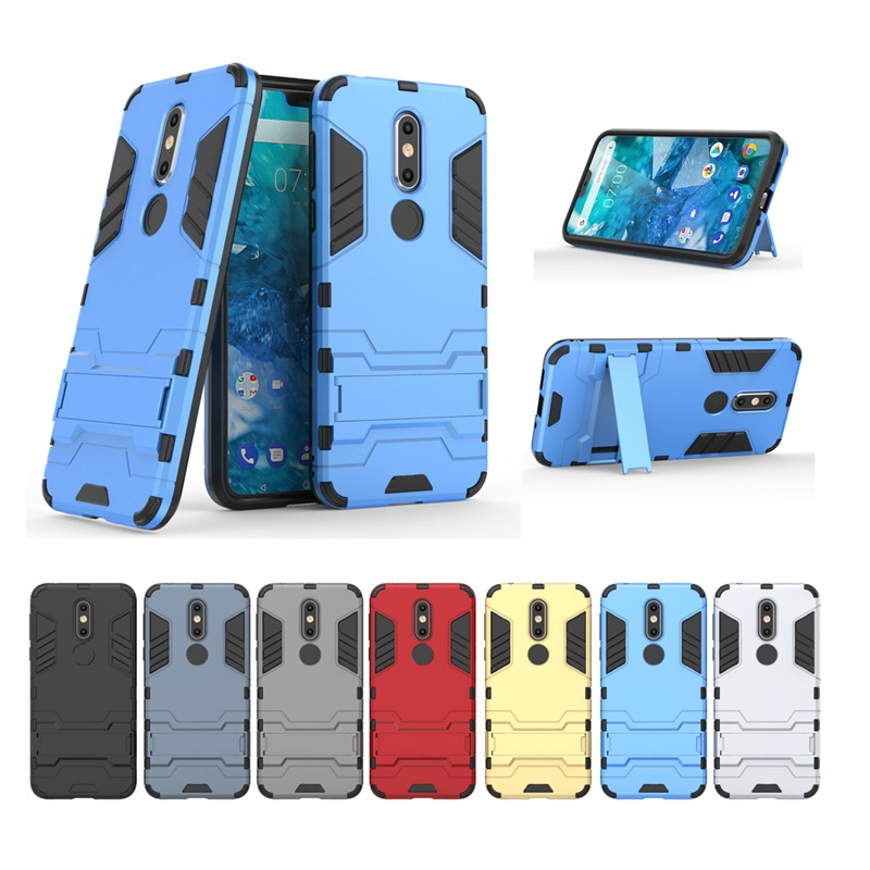 PC+<font><b>Silicone</b></font> Anti Shock Proof Iron Man Kickstand <font><b>Case</b></font> Cover Shell Funda for <font><b>Nokia</b></font> 1 2 3 5 6 7 8 2.1 6.1 7.1 <font><b>8.1</b></font> X5 X6 X7 7 Plus image
