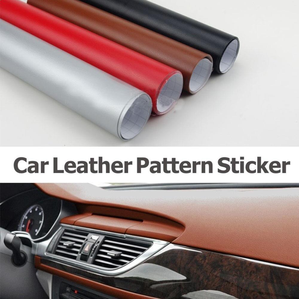 1.52x10 m noir/argent/rouge/marron voiture en cuir Film d'emballage en vinyle Fiber de carbone Film Automobiles moto voiture style autocollant