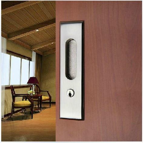 Move the door of modern steel wire drawing sliding door lock hook hanging sliding door embedded toilet door lock