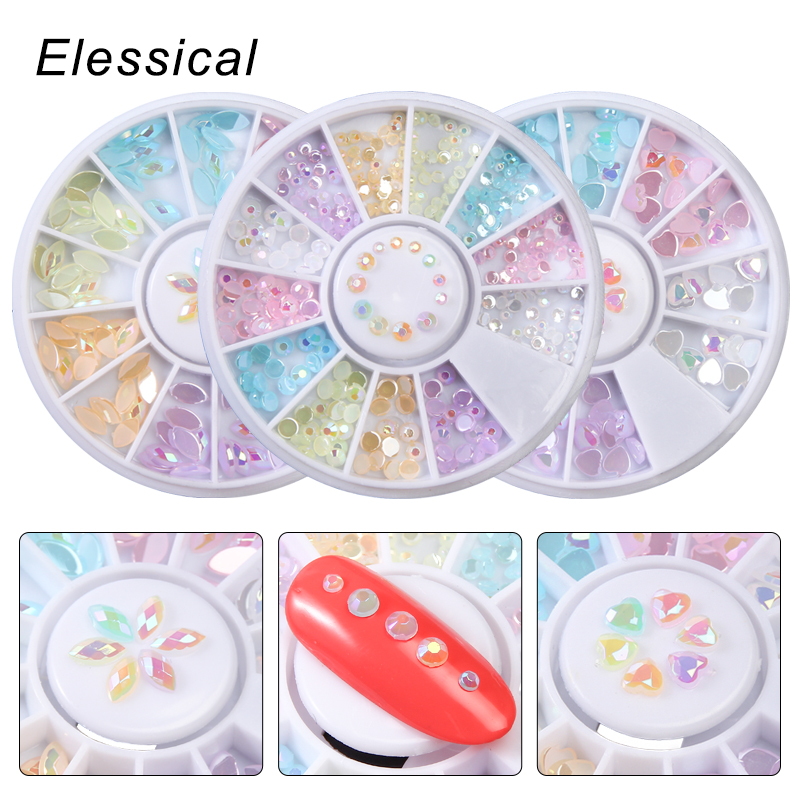 ELESSICAL Candy Color Nail Rhinestones Design Flat Bottom Strass 3D Nail Art Decoration Women Make Up Nails Accessories In Wheel