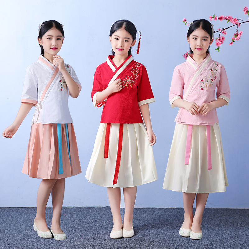 2019 Girls Traditional Chinese Tang  Dynasty Hanfu Dress Child Clothing Kids Children Fairy Dance Ancient Folk Costumes DNV11031