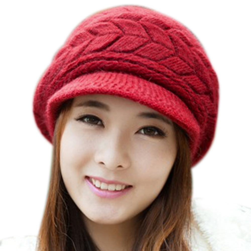 Womens Winter Hats for Women Slouchy Openings Fluffy Knit Beanie Crochet Hat  Brim Cap Knitting Caps-in Skullies   Beanies from Apparel Accessories on ... 399b3d4e77e