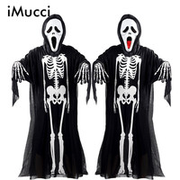 IMucci Halloween Costume Skeleton Ghost Clothes Skull Devil Mask Demon Ghost Scary Party Clothes Robe For