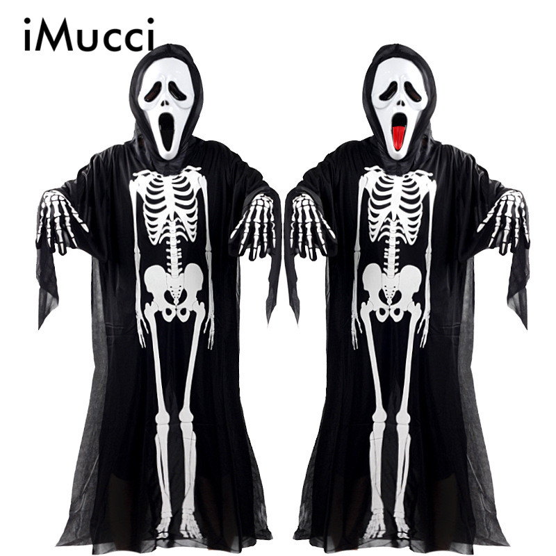 imucci halloween costume skeleton ghost clothes skull devil mask demon ghost scary party clothes robe - Clothes Halloween