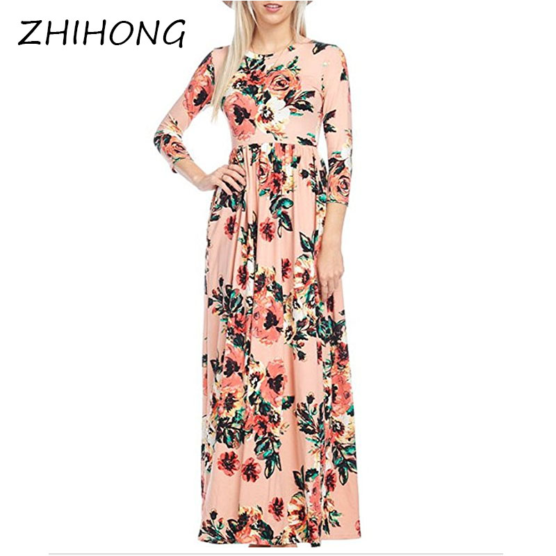 ZHIHONG Women s Spring Fashion Printed Long Dress Three Quarter Sleeve Empire Flower Floor length Dress