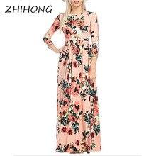 ZHIHONG Women's Spring Fashion Printed Long Dress Three Quarter Sleeve Empire Flower Floor-length Dress