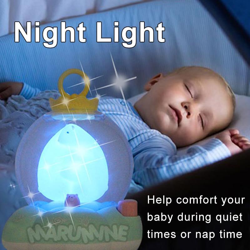 Marumine bébé berceau Mobile jouet avec veilleuse et musique touche boutons lit cloche titulaire hochets pour 0-12 mois nouveau-né garçons filles - 2