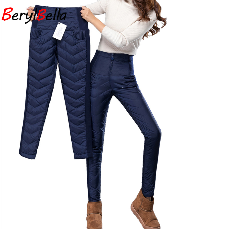 BerylBella 2017 Winter Warm Outwear Women Duck Down Pencil Pants Women High Waist Slim Fashion Thick