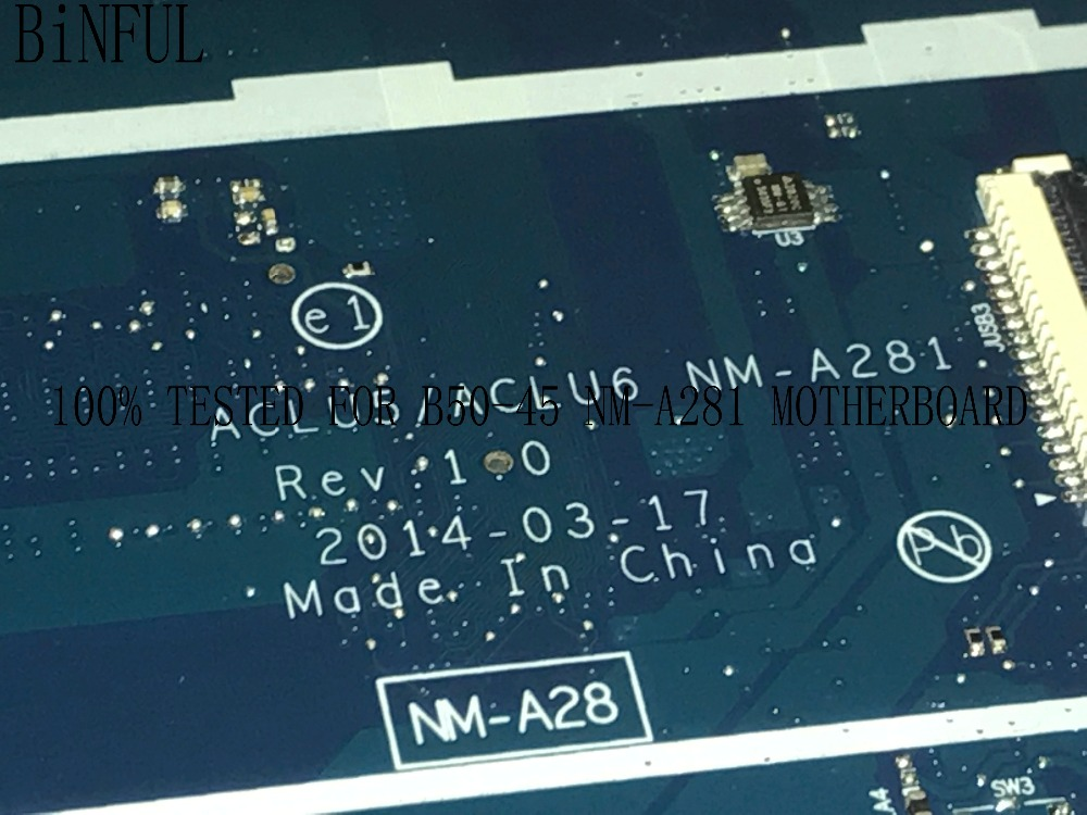 BiNFUL HOT IN RUSSIA 100% NEW ACLU5 / ACLU6 NM-A281 FOR LENOVO G50-45 LAPTOP MOTHERBOARD  WITH  ONBOARD A4 PROCESSOR