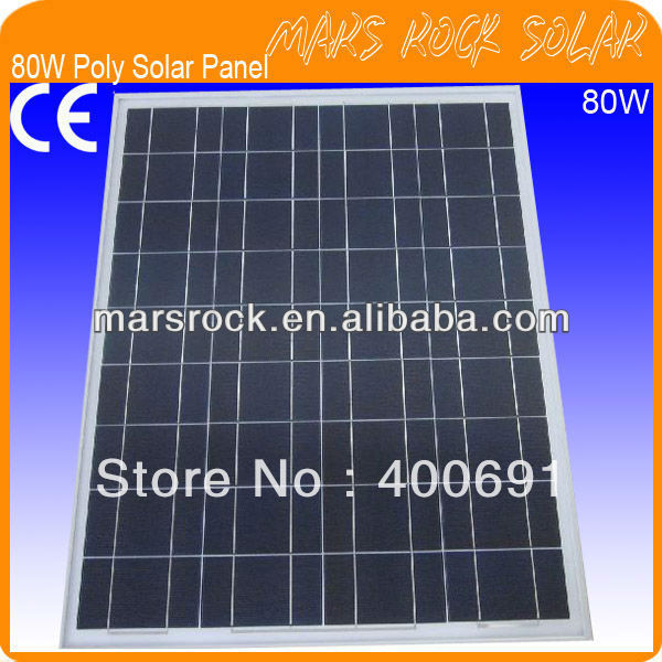 80W 18V Polycrystalline Solar Panel with Special Technology, Nice Appearance, IP65 Waterproof, 80% Power Warranty within 25year 35w 18v polycrystalline solar panel module with special technology high efficiency long lifecycle fend against snowstorm