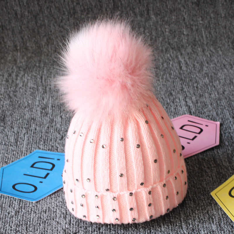 ... New Winter Baby Girl Hat Hot Sale Girls Knitted Crochet Hats With Pom  Pom Children Hat ... 03f4c576f269