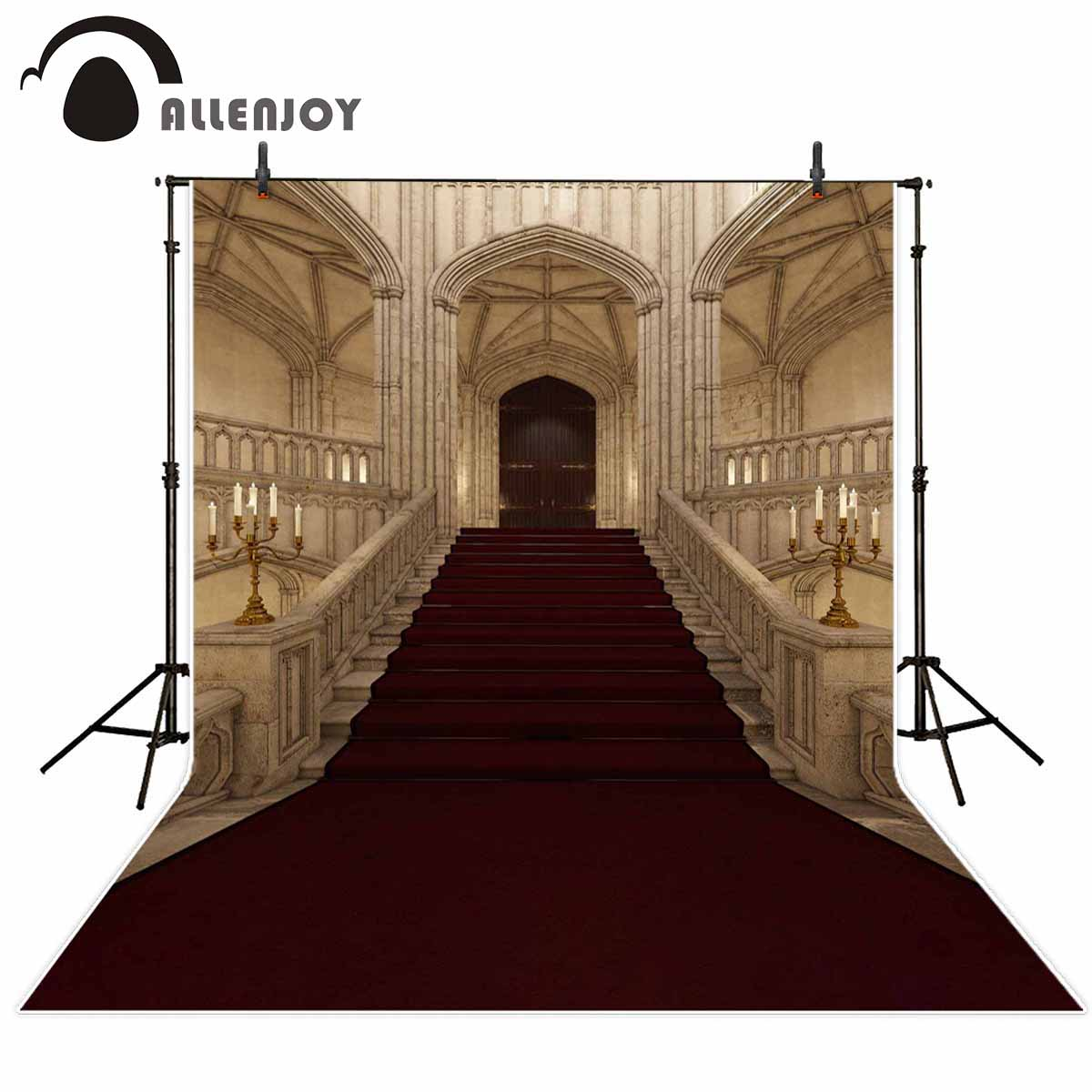 Allenjoy photography backdrop fairy tale palace red carpet stairs door background for photo studio photocall photophone props