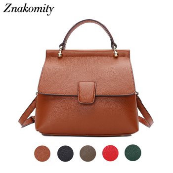 Znakomity Fashion Women Genuine Leather Bag Solid Color Shell Messenger Shoulder Bag Ladies Small Casual Crossbody Tote Bag 2019