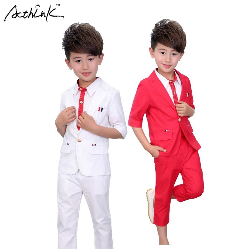 ActhInK New Boys 2PCS Solid Blazer Suiti Marka Çiçək Uşaqları Formal İngiltərə Stil Toyu Kostyum Oğlanlar Təsadüfi dana uzunluğu şalvar, AC082
