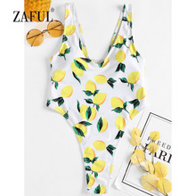 ZAFUL One Piece Swimsuit Lemon Print High Cut V-Neck