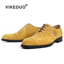 VIKEDUO Genuine Cow Suede Oxford Dress Shoes Men Yellow Flat Letter Laser Wedding Office Handmade Formal Zapato de Hombre