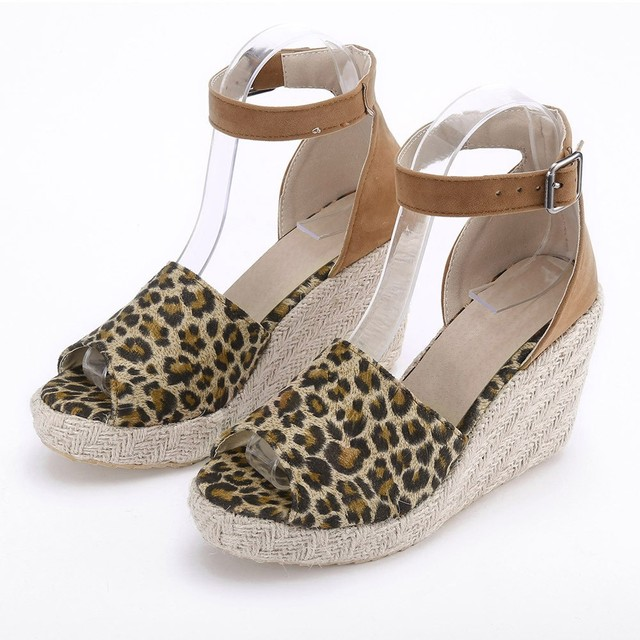 f050b44f7a23b4 YOUYEDIAN Fashion Womens Sweet High Heel Wedge Platform Sandals Leopard  Buckle Ankle Shoes escarpins femme 2018 new arrival #a25