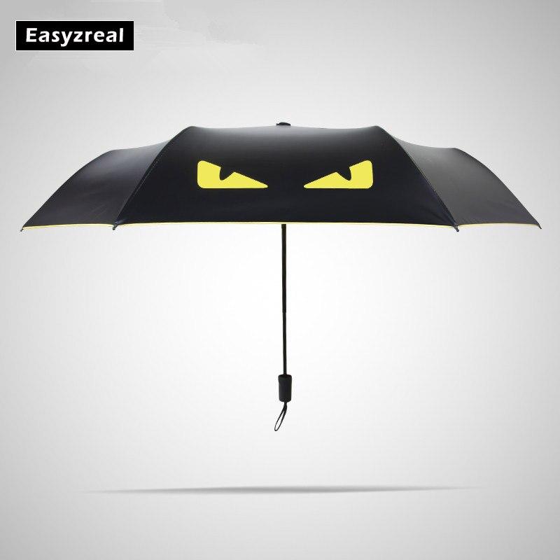 Creative Black coating 3 Fold UV Women men Non automatic business windproof umbrellas male Fashion parasol Child Gifts paraguas