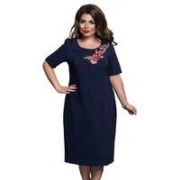 Femme Elegant Office Evening Party Big Large Size Dresses Summer Plus Size Women Floweral Embroideried Dress