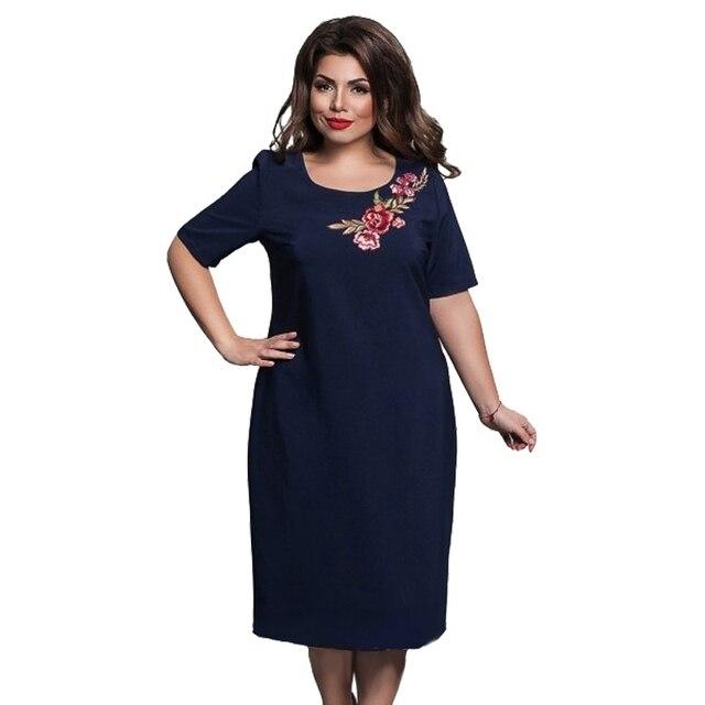 Летние женские элегантные офисные Вечеринка круглым вырезом свободные платья Floweral Embroideried Платье Femme