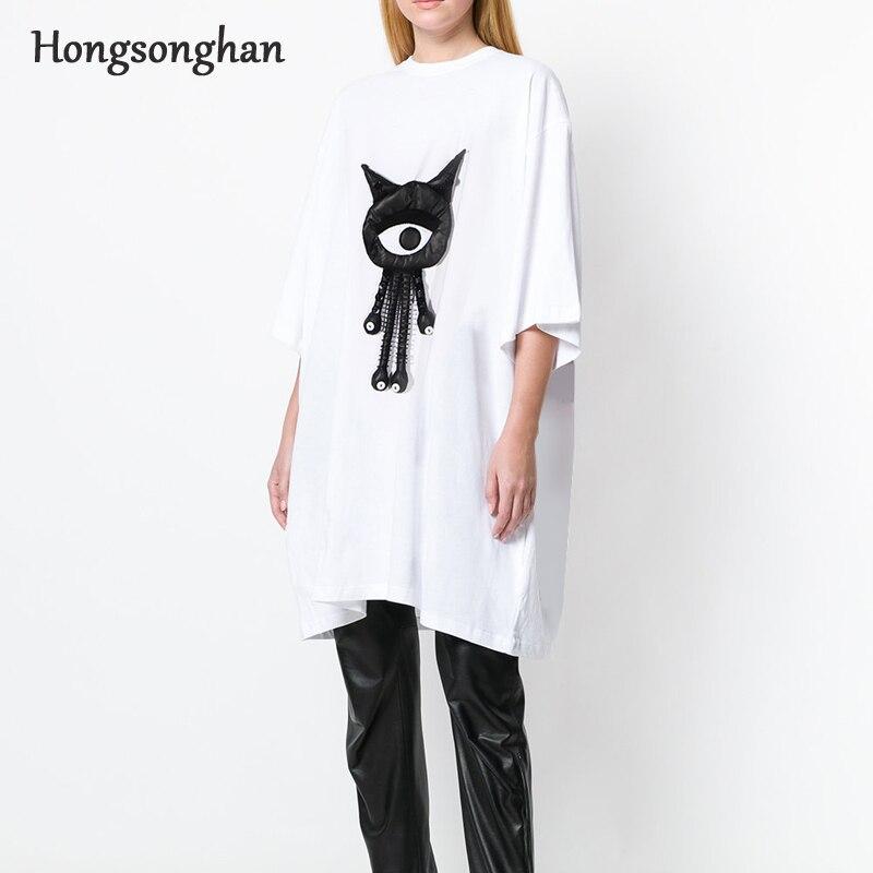 Hongsonghan 2018 petit ami style en trois dimensions poupée décoration lâche grande taille tous les ensembles de match de pull robe fille