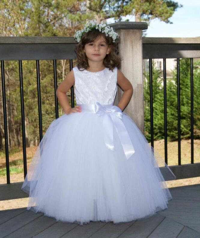 Puffy Tulle White Lace Flower Girl Dresses for Wedding Floor Length Ankle Length Girls Communion Dresses High Quality Custom new white ivory flower girl dresses for wedding 3d flowers puffy tulle with big bow girls first communion gowns