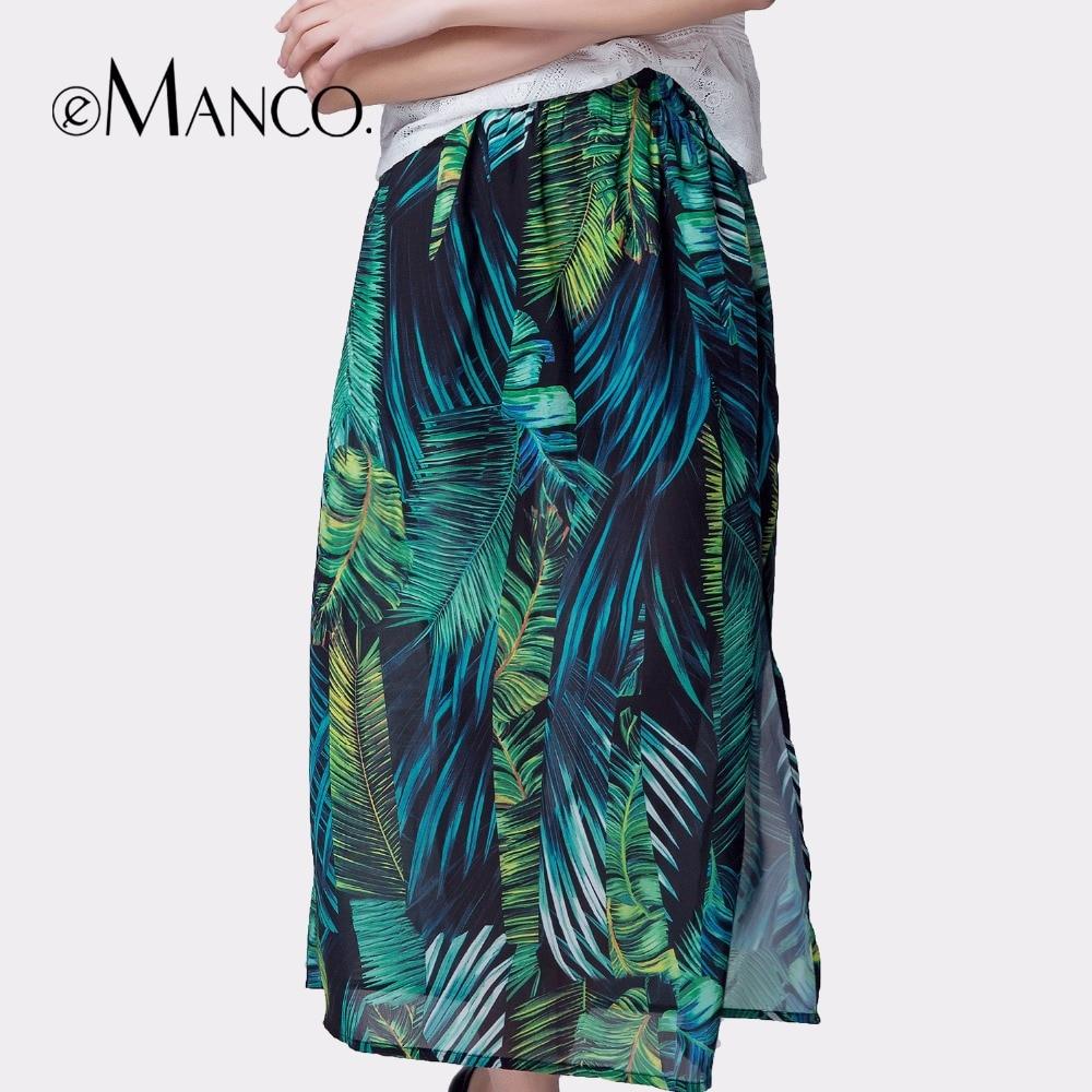 5567147e8 E-Manco elegante faldas largas de verano para mujer falda de tul maxi  bohemio estampado flor playa ...