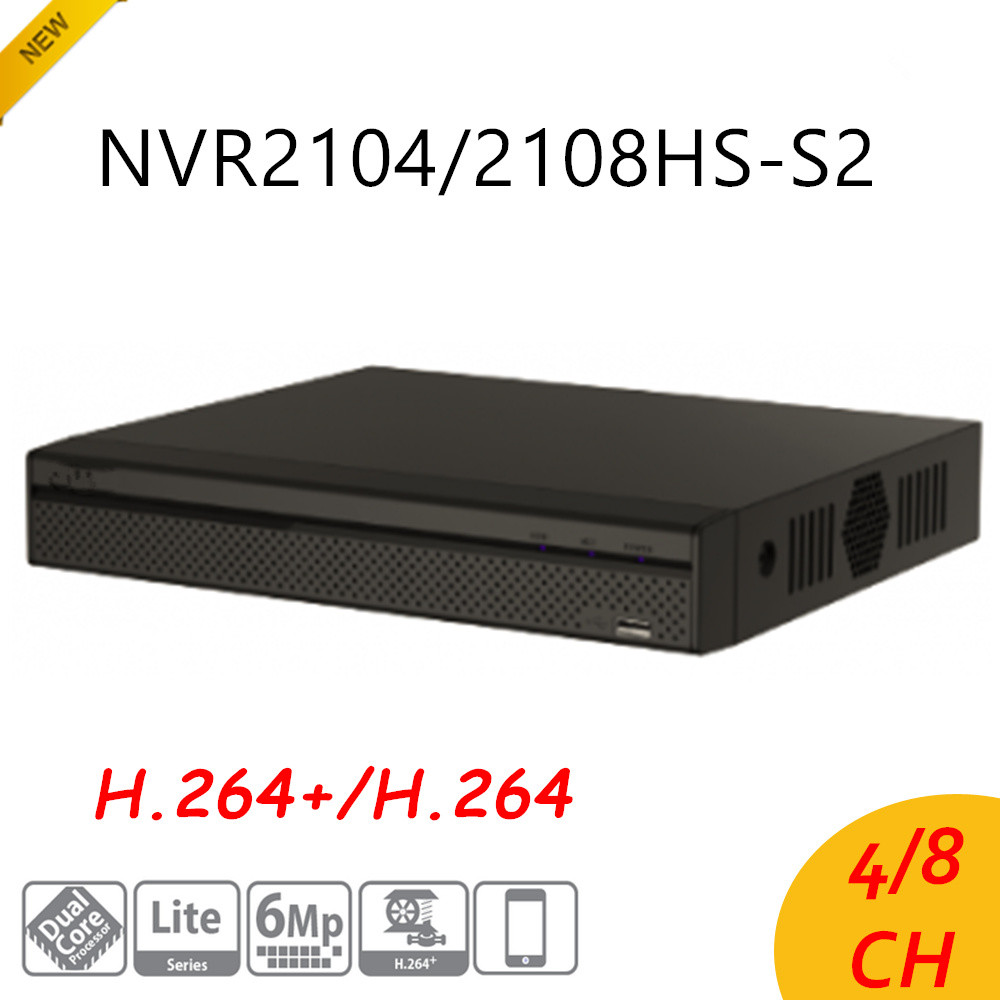 English Version DH 4/8 Ch Compact 1U Lite Network Video Recorder NVR2104HS-S2/NVR2108HS-S2 H.264+/H.264 HD1080P Up to 6Mp все цены
