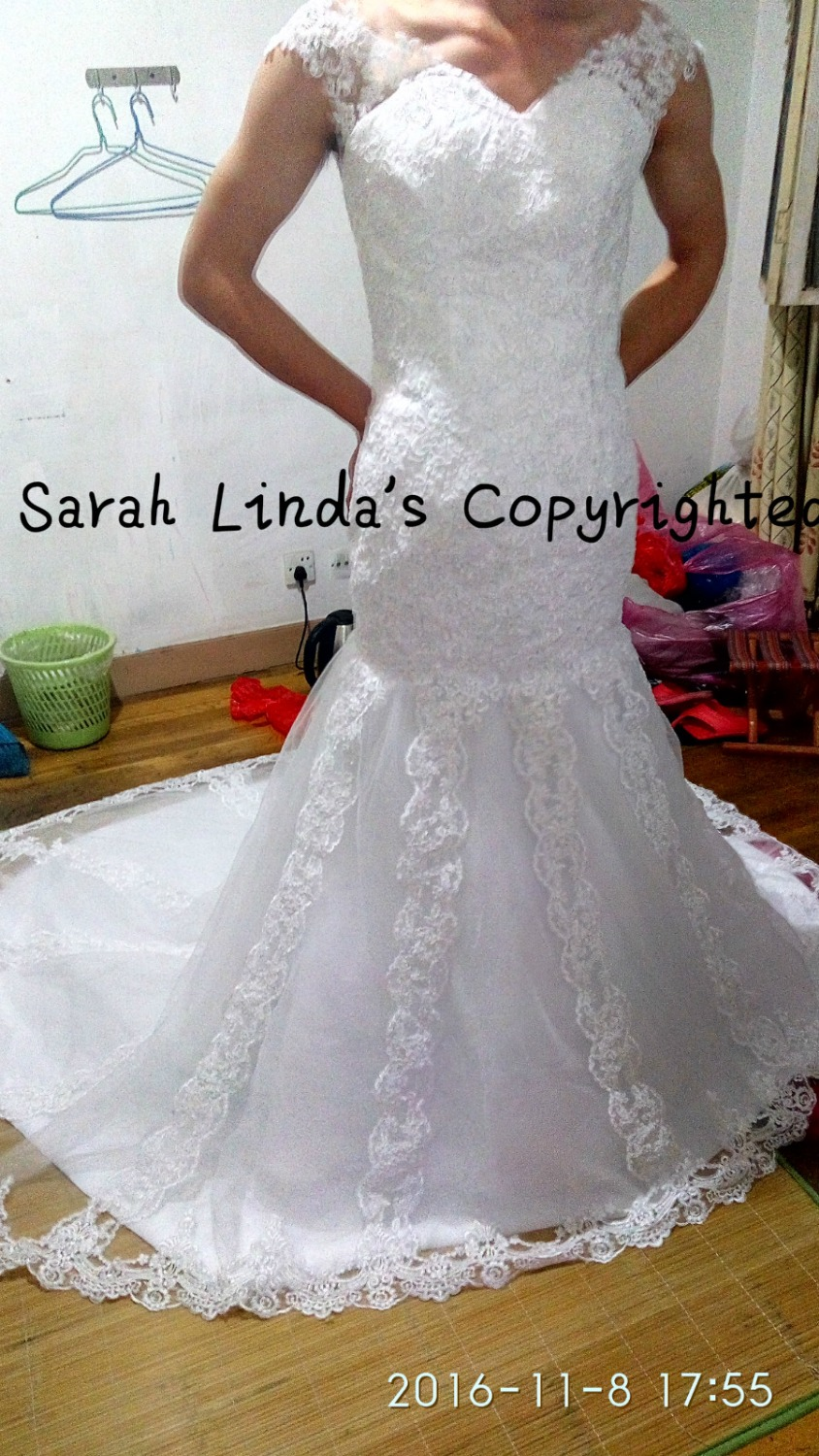 New design white appliques mermaid wedding dress real picture chapel train formal bride dress cap sleeve modest wedding gowns