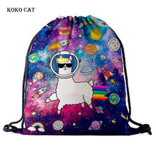 Cute Catoon Animal Pattern Travel Drawstring Pocket Pokemon Bag Backpack Ladies Shopping Draw String Canvas