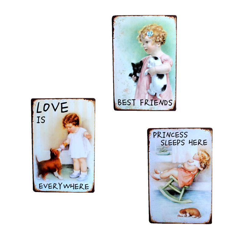 Cute Child Baby Retro Vintage Tinplate Metall Tin Skilt Wall Decor Garage Club Barn Parlor Bedroom Plaques 20X30CM
